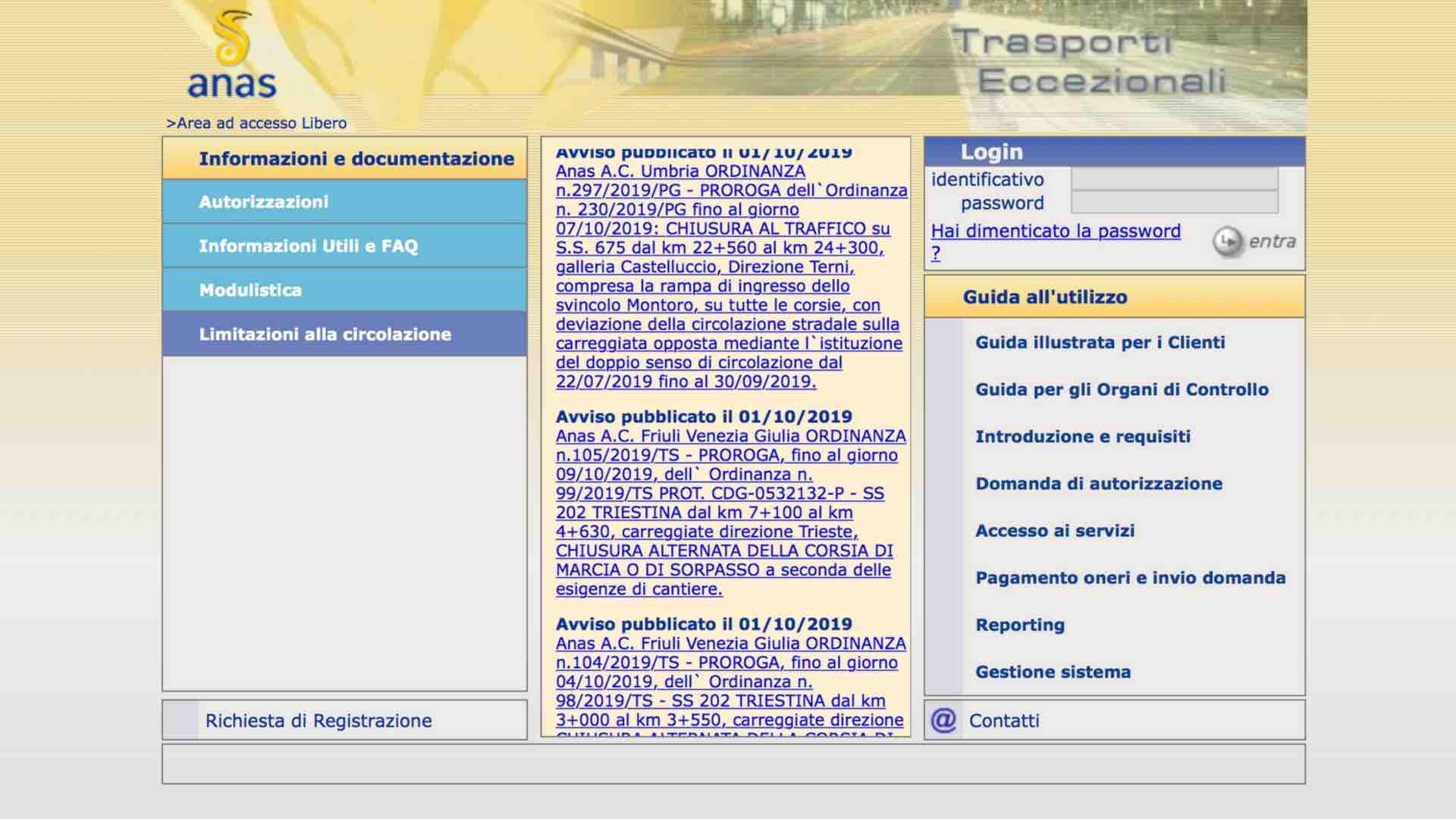FIAP Anas. Problemi di funzionamento del portale TEWEB.