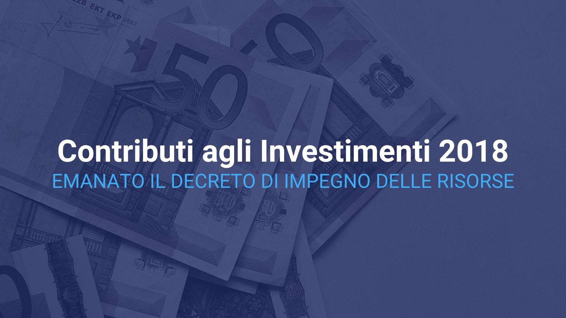 Contributi agli Investimenti 2018.