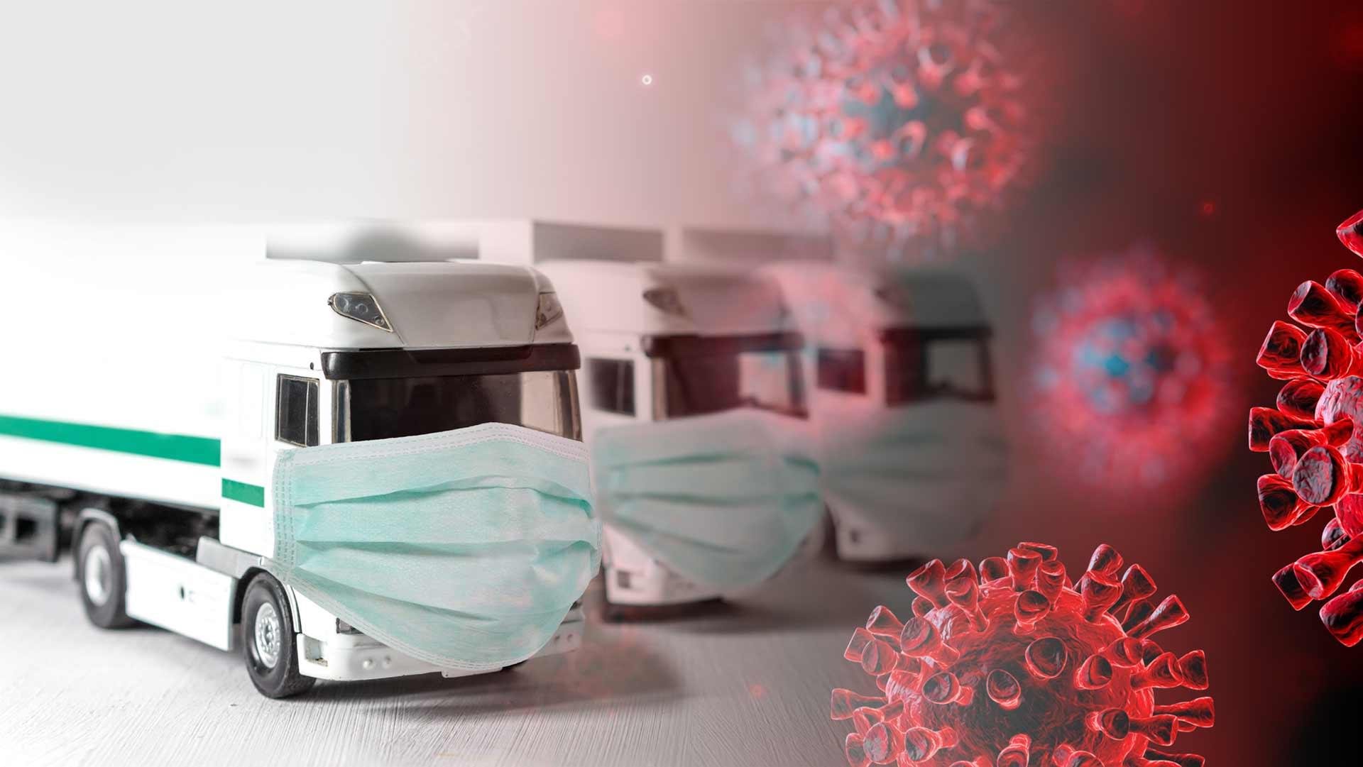 Trucks with maskes coronavirus