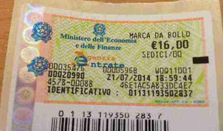 marca da bollo imposta 16 euro contrassegno telematico